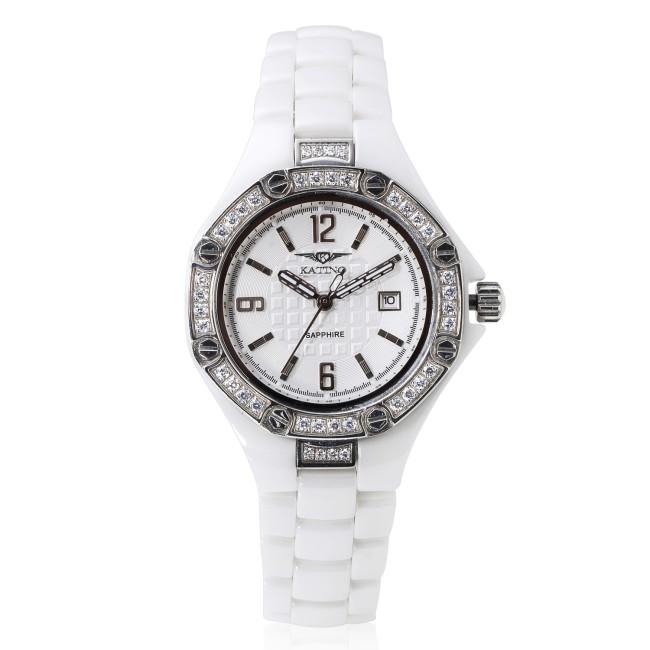 【KATINO】八角白面白鋼外圈鑽陶瓷石英錶-K306WZG