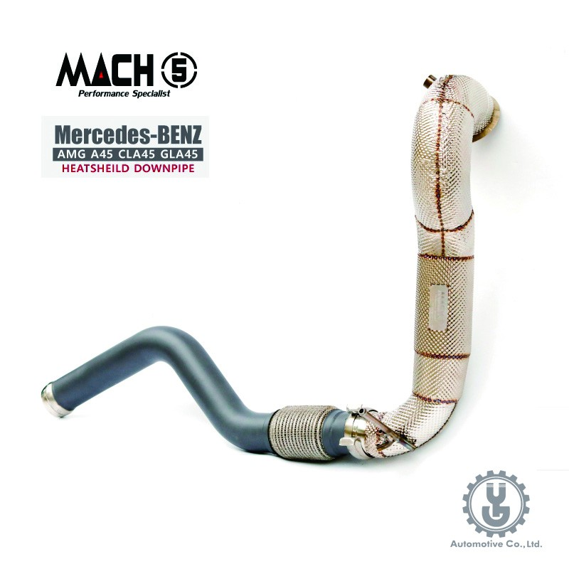 MACH5 高流量帶三元催化頭段 當派 排氣管 BENZ X156 AMG GLA45 底盤系統【YGAUTO】