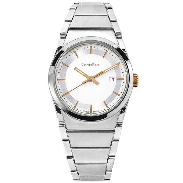 CK 簡約典雅 礦石強化玻璃 日期 瑞士製造 不鏽鋼手錶 白色 K6K33B46 30mm 廠商直送