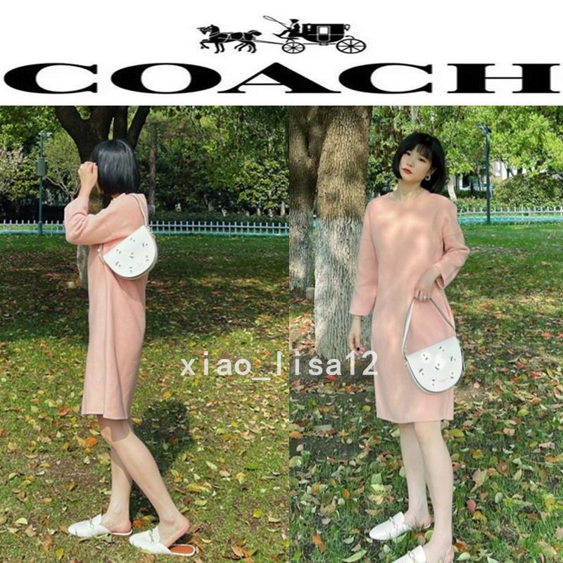 正品代購 蔻馳/COACH C2863 新款女士馬鞍包 半月包 小雛菊翻蓋單肩斜揹包 簡約時尚 單肩包 側背包 附購證