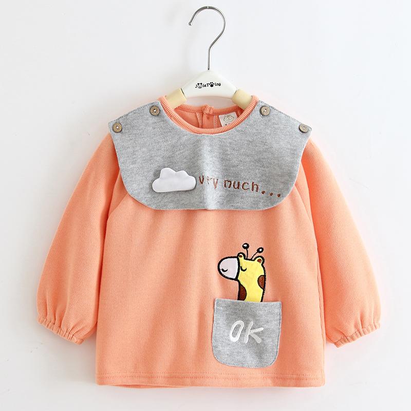 寶寶罩衣 現貨 寶寶罩衣純棉秋冬兒童長袖防水嬰兒吃飯圍兜衣男童女孩反穿衣外穿