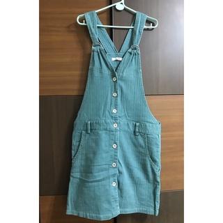 二手衣櫃✨cantwo孔雀綠牛仔排釦吊帶裙 臺南市