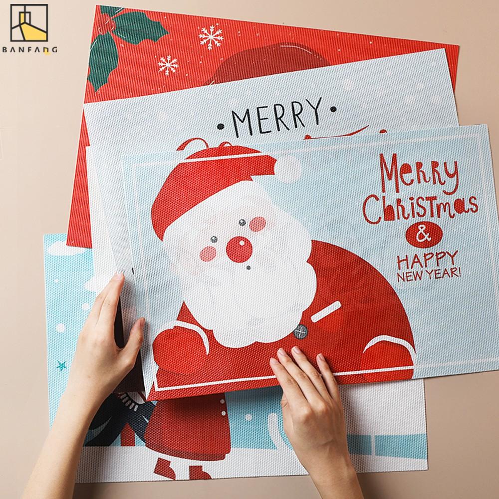 半房 聖誕節餐墊加厚餐桌墊碗隔熱墊防水防滑墊聖誕節可愛裝飾墊