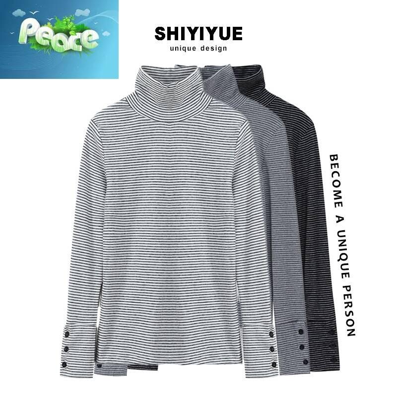 SHIYIYUE 十一月 高領條紋長袖t恤女修身內搭春季韓版打底上衣潮