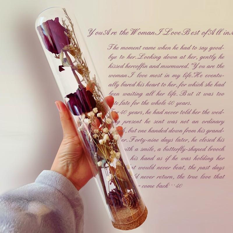 軟木塞加高款玻璃罩 玫瑰干花收納擺件diy飾品玻璃瓶試管瓶許愿瓶