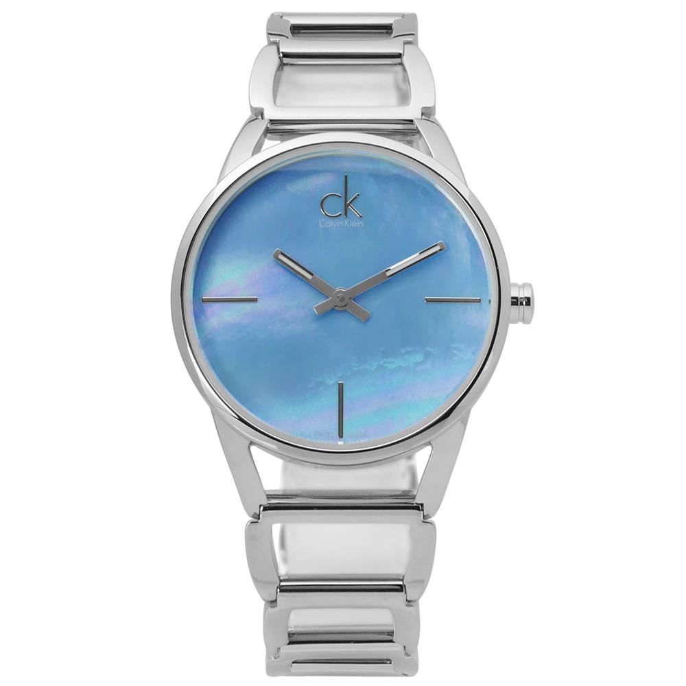 CK K3G2312N 迷人優美光環珍珠母貝不鏽鋼手錶 藍色 33mm 廠商直送