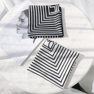 簡約北歐風小圍巾春秋仿真絲方巾印字母條紋防曬絲巾裝飾頭巾