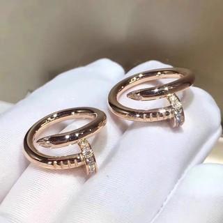 ❁❒Cartier 卡地亞 韓國風鑲鑽釘子元素鈦鋼戒指/ 鋯石戒指 開口可調節 簡約個性百搭食指指環  潮流情侶對戒 防過