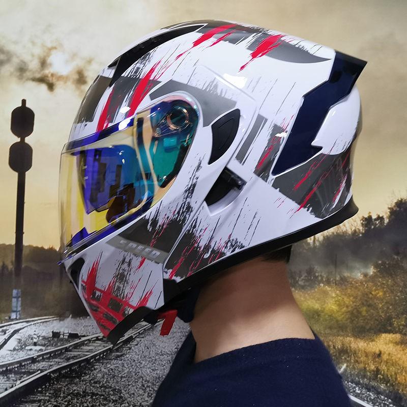 全罩安全帽全覆蓋式個性頭盔Orz頭盔男女電動摩托車揭面盔全盔尾翼半盔安全帽個性冬季機車灰