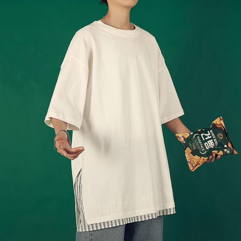【HOT 本舖】M-2XL T恤 短袖t恤 休閒T恤衫 假兩件 五分袖 寬鬆上衣 潮男必備 港風男裝 青少年學生T恤衫