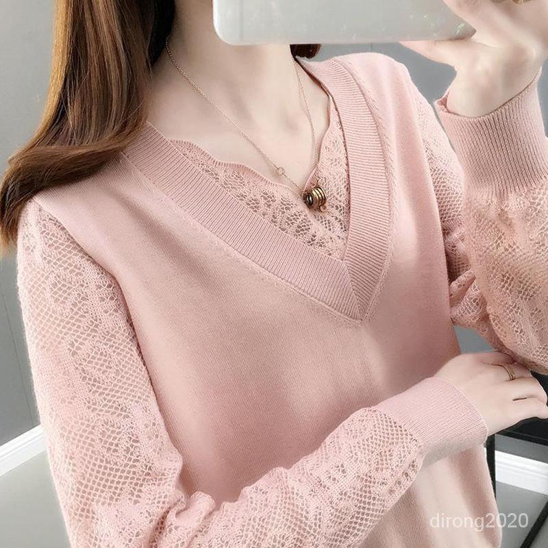 蕾丝针织打底衫春装2021年夏装新款T恤V领毛衣女宽松洋气薄款上衣