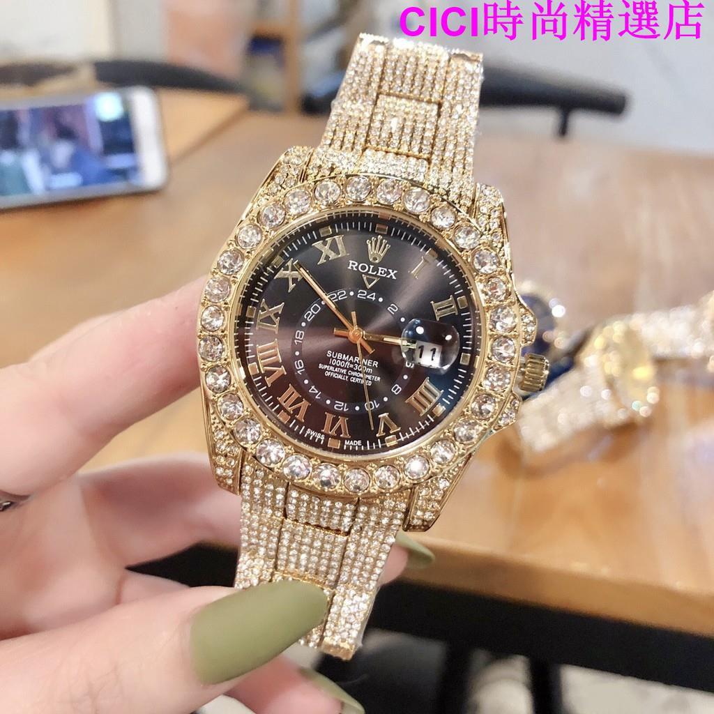 實拍(Rolex 勞力士)男錶 滿天星全鑲鑽款日誌系列腕錶 石英機芯手錶 男士高端商務錶 土豪金手錶 滿鑽腕錶 男女同款