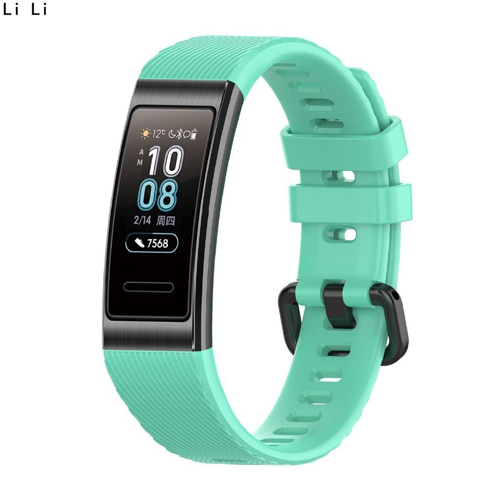 華為手環band 3/band4 pro硅膠錶帶 TER-B09/TER-B29S替換腕帶 時尚透氣運動腕帶 黑扣 LI