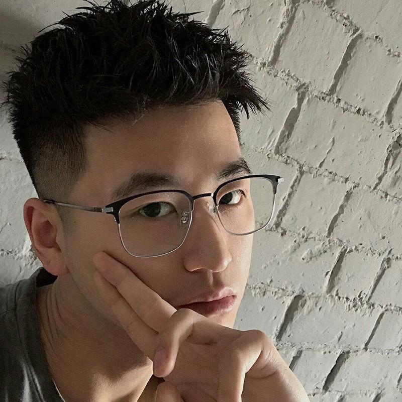 【現貨秒發】余文樂同款近視眼鏡男復古文藝眉線框平光鏡女防藍光防輻射近視鏡