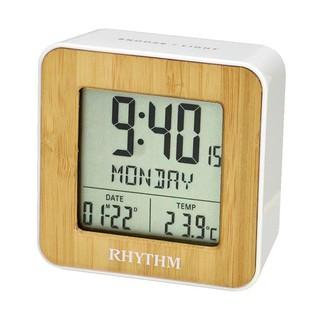 RHYTHM CLOCK 麗聲仿木紋面方型液晶日期星期貪睡雙鬧鈴溫度冷光鬧鐘 型號:LCT085NR03【神梭鐘錶】 臺北市