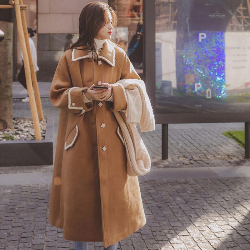 大衣 毛呢大衣 韓版大衣 毛呢外套 大衣氣質女神范冬季新款ins港風毛呢外套中長款加厚寬鬆