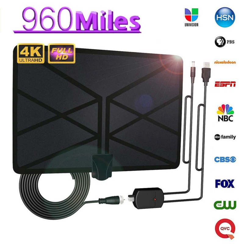 數位電視專用室內天線 帶訊號放大器強波器 200英里範圍 1080P 4K 16英尺同軸電纜 HDTV TDT