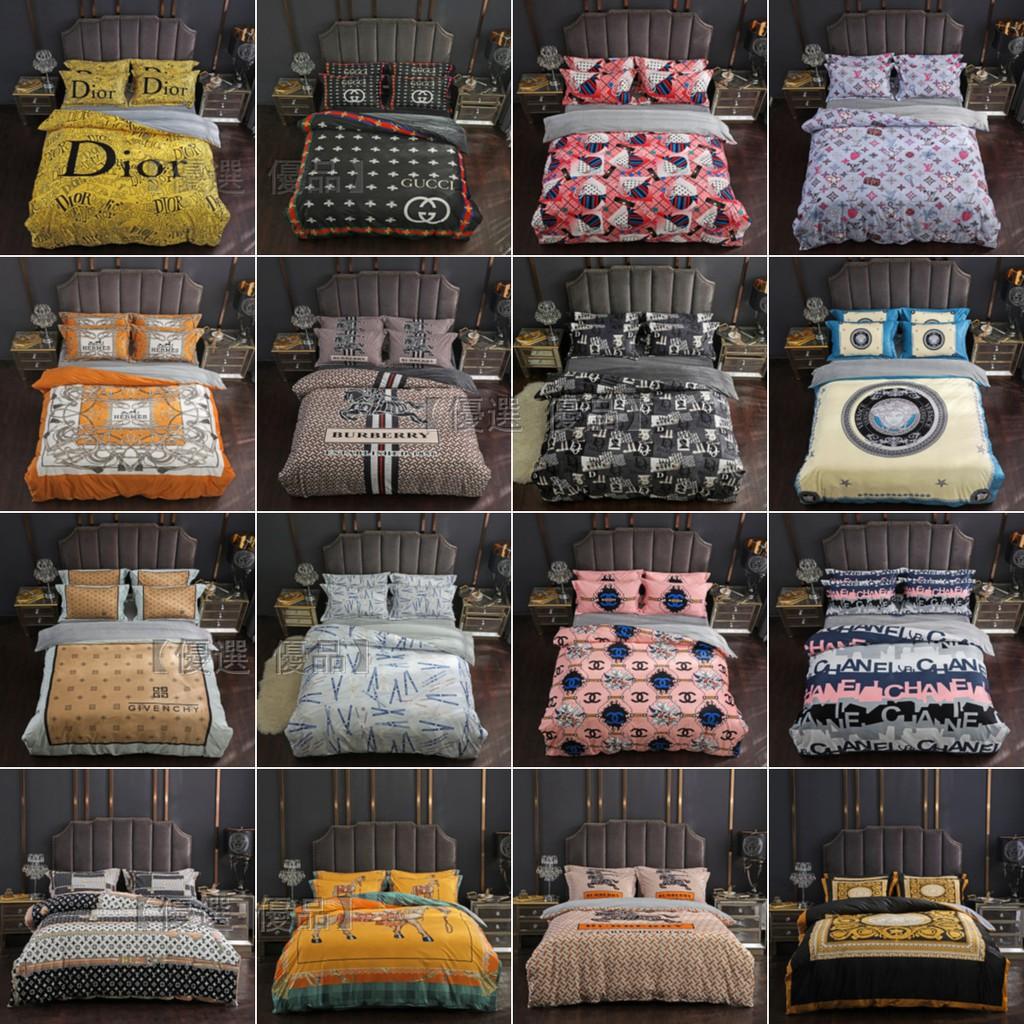 【免運】多款潮牌床包四件套 水晶絨床包 雙人標準/加大床包 LV GUCCI YSL 大牌床包 床包組