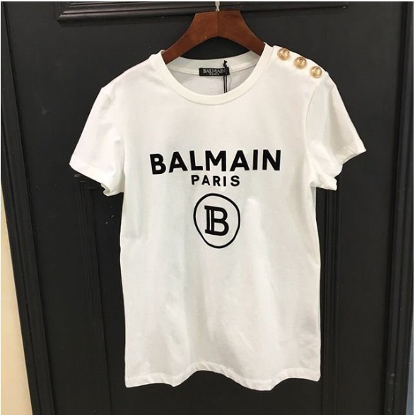 Balmain 黑色logo短袖T恤 金扣 肩上鈕扣裝飾 棉T shirt上衣 白色