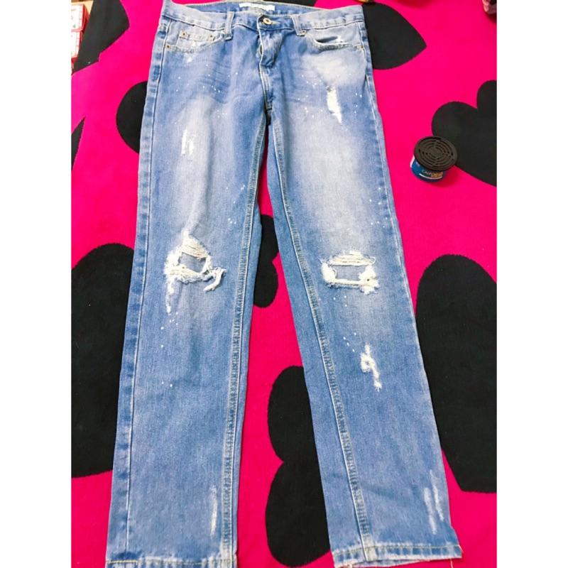 tank new jeans百搭潑墨破洞牛仔褲M