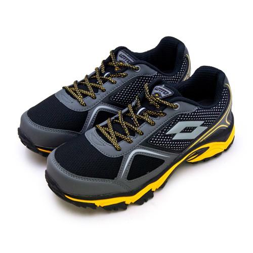 【LOTTO】專業防潑水郊山越野跑鞋 CROSS RUN 跨越叢林系列 黑灰黃 0150 男