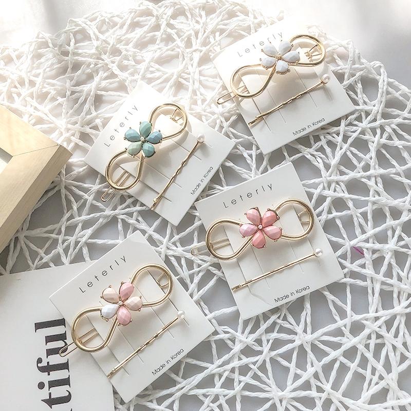日系甜美風氣質彩色炫彩髮夾珍珠套裝一字夾扣式夾名族風髮飾 F191