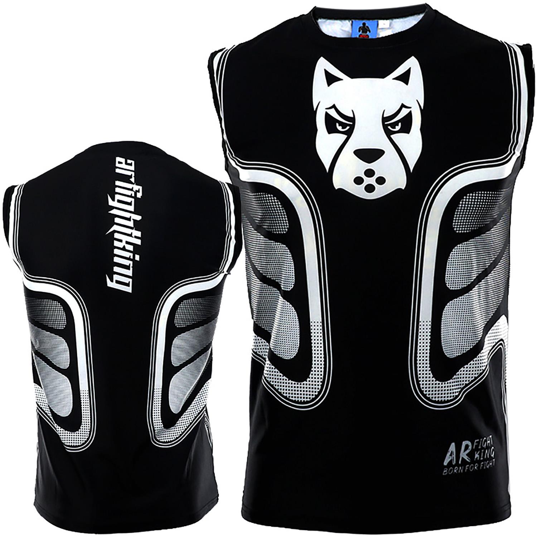 ARFIGHTKING健身背心格鬥運動速乾無袖UFC搏擊MMA泰拳T恤訓練柔術