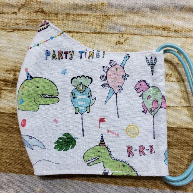 【青手作】韓國薄棉派對恐龍三用布口罩(童)(1.一般布口罩,2布口罩套(3D醫療口罩),3可放入濾材)
