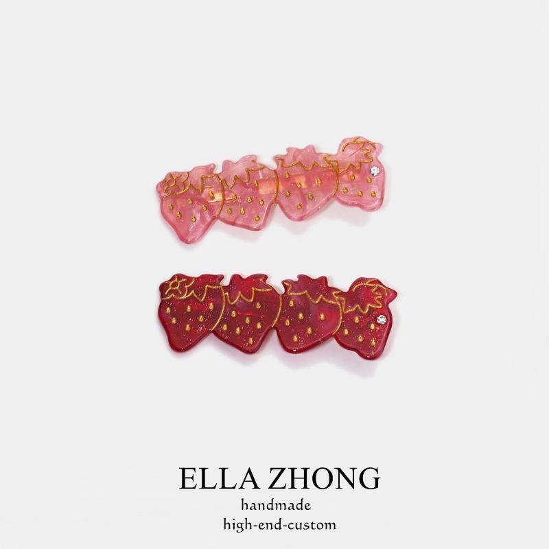 【lpo】出口日本~草莓控發夾邊夾可愛少女發飾頭飾韓國日系醋酸發卡淑女