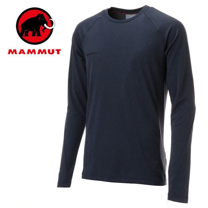 【Mammut 長毛象 瑞士】Aegility 圓領長袖排汗衣 運動上衣 男款 海洋藍 (00780-5784)