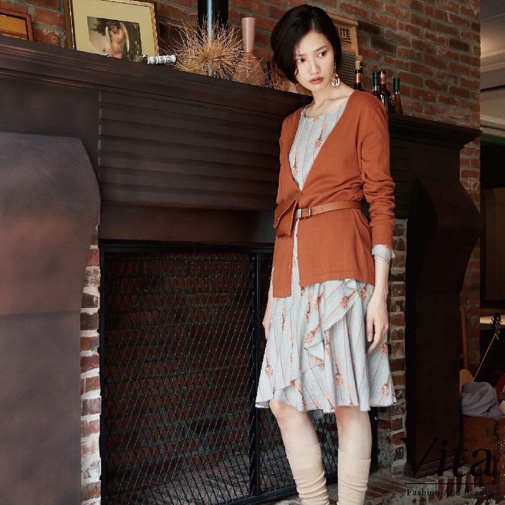 Vita-條紋寬鬆荷葉袖連身裙-灰-9360-68154-21