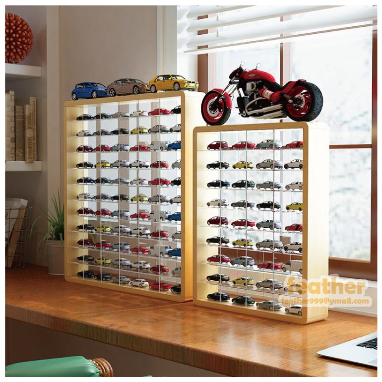 TOMICA多美小汽車 36格/50格/66格無蓋無背板 原木木質壓克力展示櫃 多美小車公仔木製收藏櫃 展示櫃 (預購)