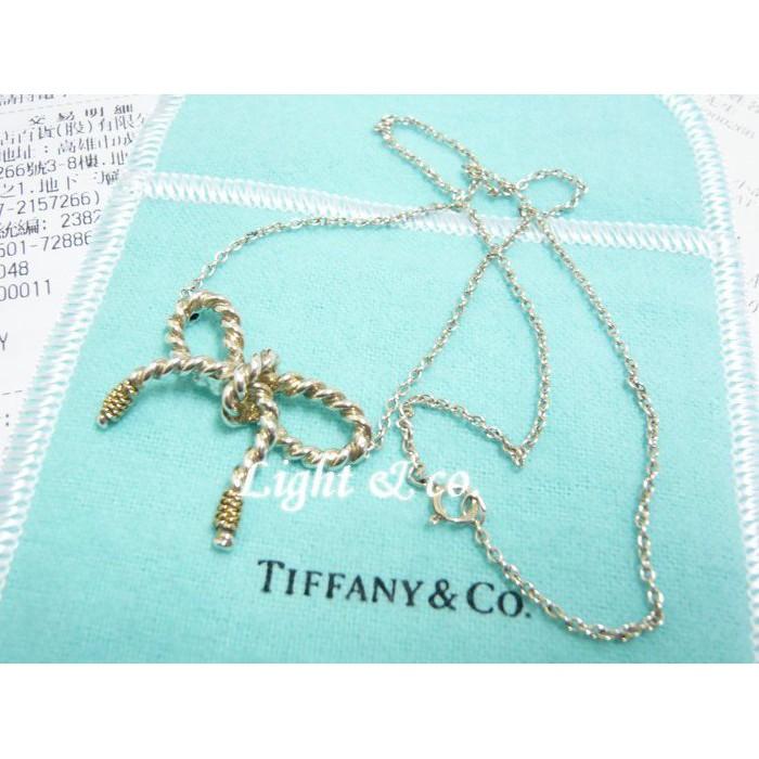 【Light & co.】專櫃真品 TIFFANY 750 K金 雙色 蝴蝶結 項鍊 18K 打結 無限 金繩 麻繩