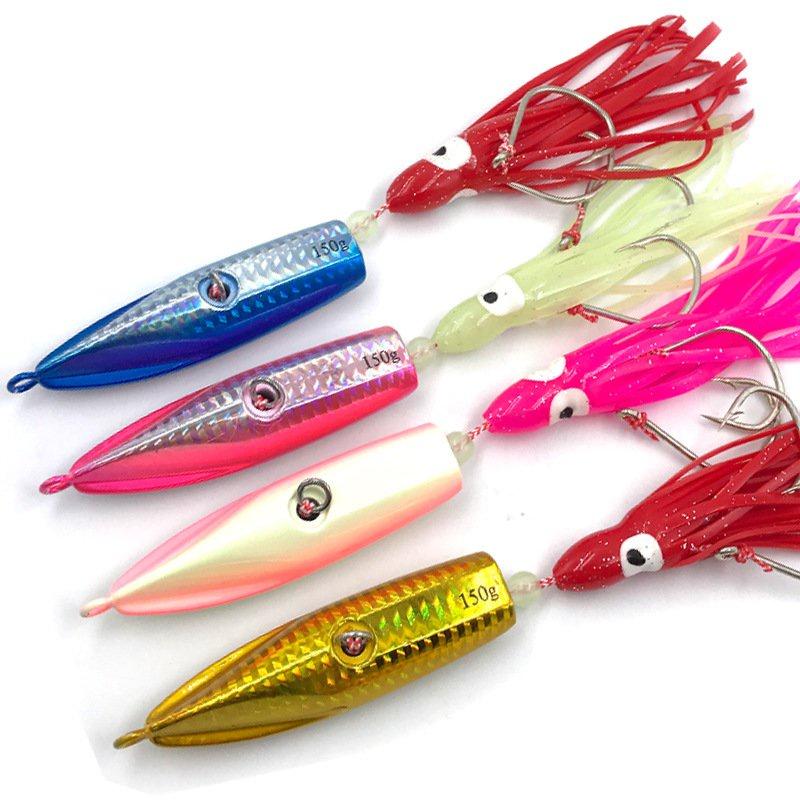 1件裝海釣船釣炎月鐵板鉛魚仿生餌配夜光魷魚鉤150g180g200g 9G9d