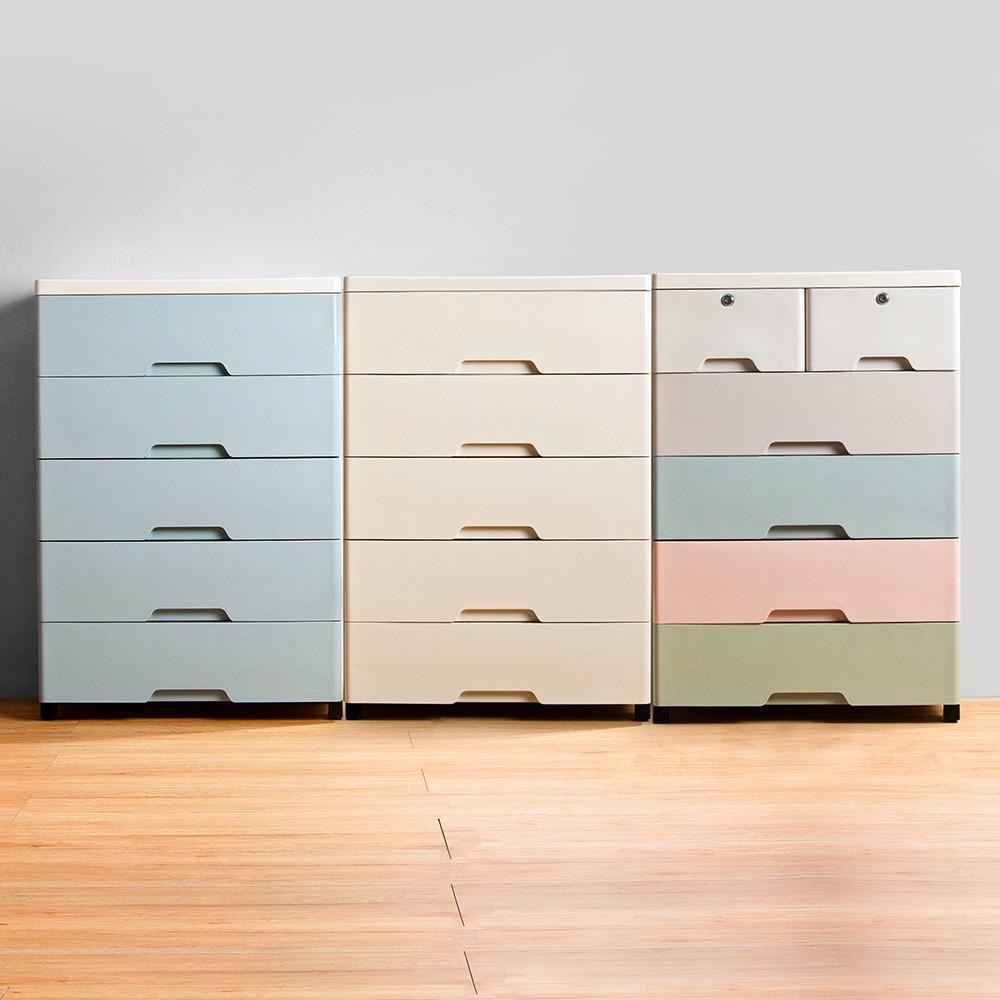 Mr.box【024100】56大面寬-時尚五層抽屜式收納櫃-附鎖附輪(馬卡龍、藍色、米色)三款可選