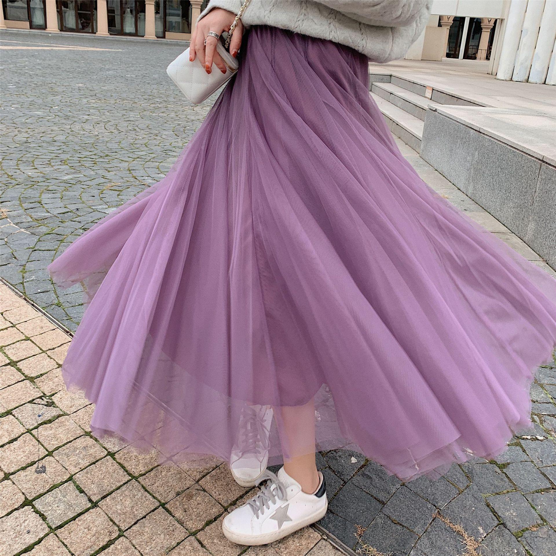 DS 紫色紗裙 長裙 14色 實拍 超大裙擺 網紗半身裙 百褶裙 鬆束腰 雙層 仙女 蓬蓬 大擺 a字