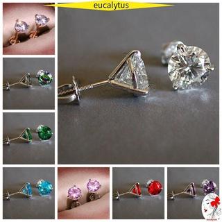 🌸尤特斯🌸 時尚三爪耳環珠寶禮物圓形鑽石馬丁尼 1ct 耳釘婚禮訂婚女士男士穿孔閃亮 Aqua 藍色多色鋯石海藍寶石 /