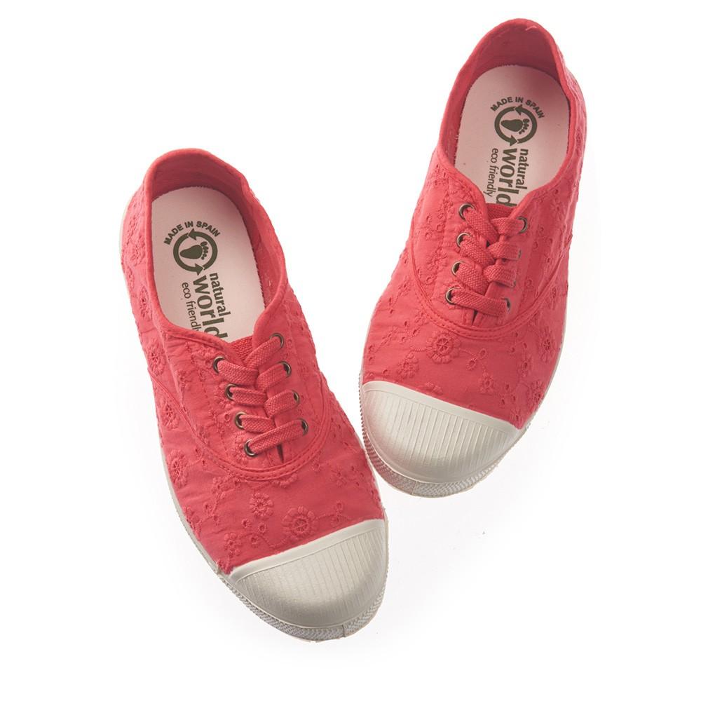 Natural World 西班牙休閒鞋 印花4孔基本款-橘紅色