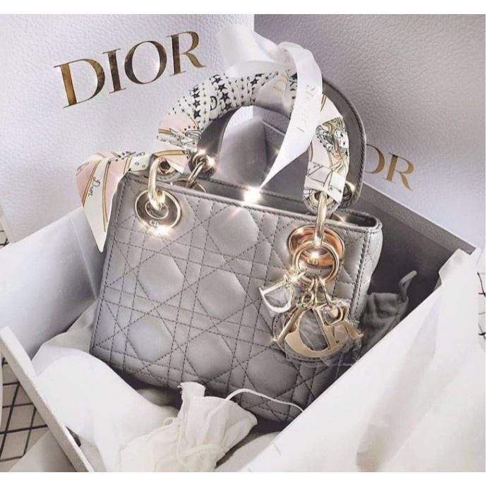 全新法國正品 Dior MINI LADY 乳灰色 珠光 籐格紋 金鏈 迷你款 黛妃包 手提包