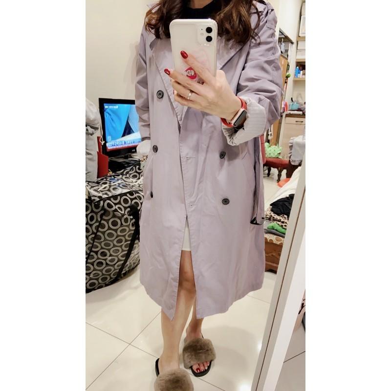 韓國品牌,紫灰色直條紋內長版風衣外套,free size