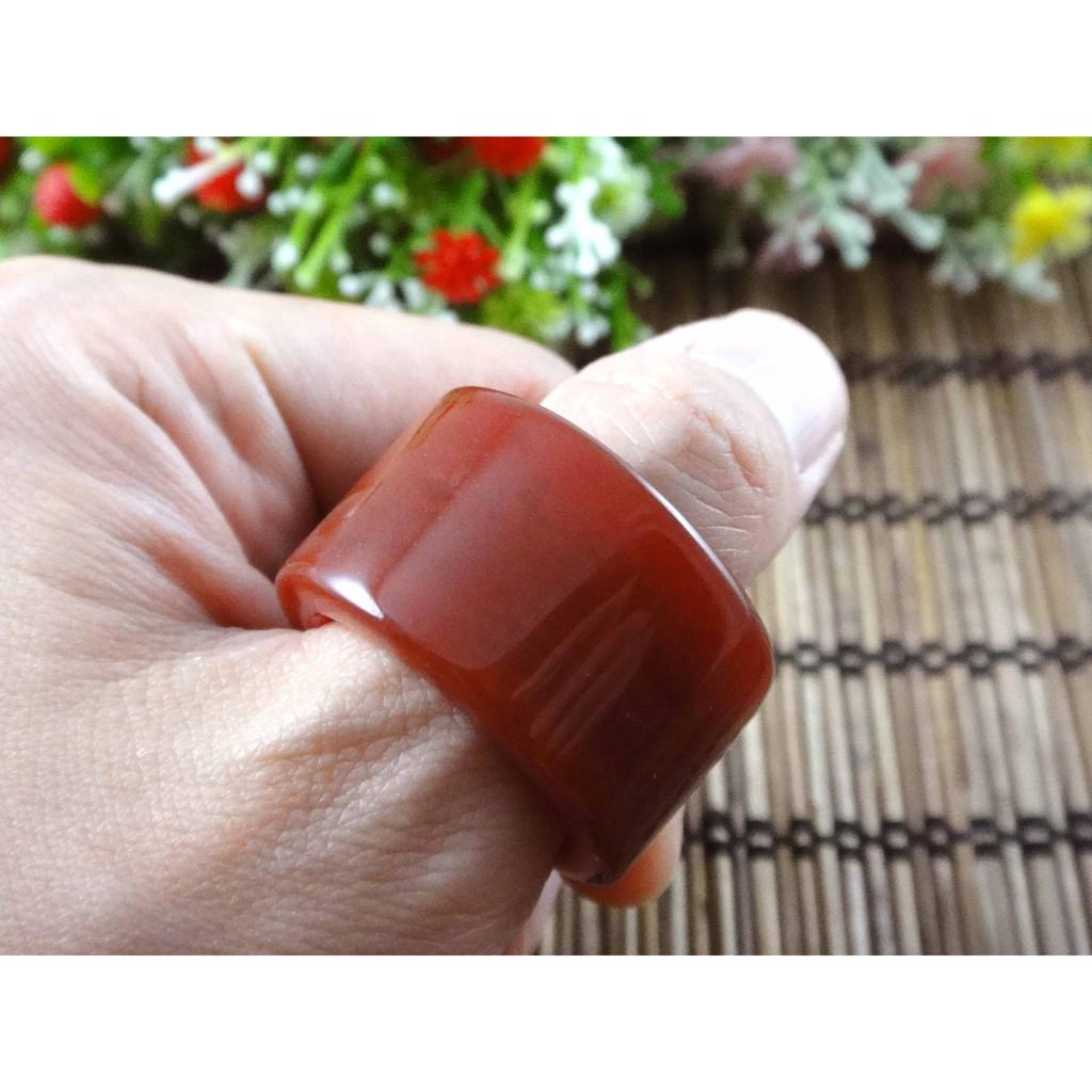 紅瑪瑙扳指戒指國際戒圍22號天然紅玉髓