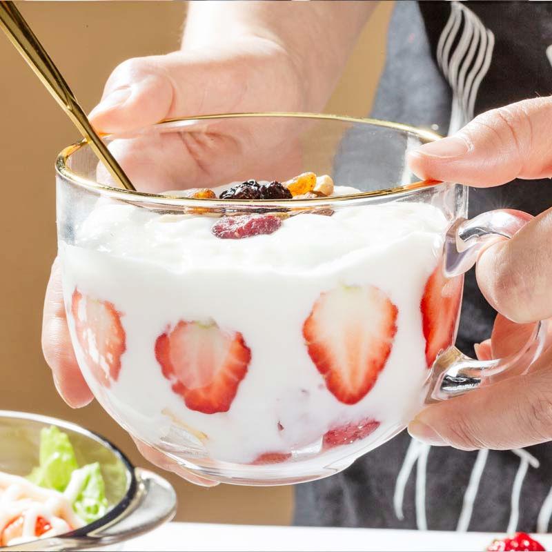 大容量金邊網紅玻璃杯子女牛奶玻璃早餐杯家用耐熱燕麥酸奶杯帶蓋