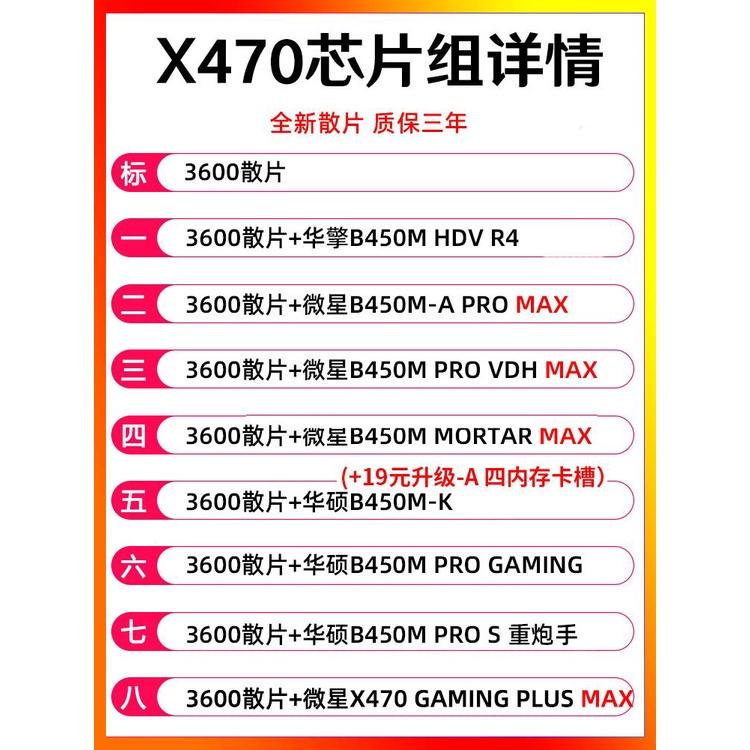 裝機精選~AMD銳龍R5 2600散片3600 3500X 3600微星B450主機板CPU套裝3700X盒