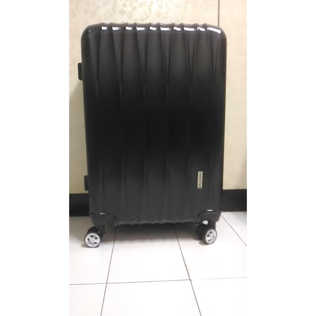 America Tiger硬殼黑色立體拉絲紋24吋行李箱/全新未用過
