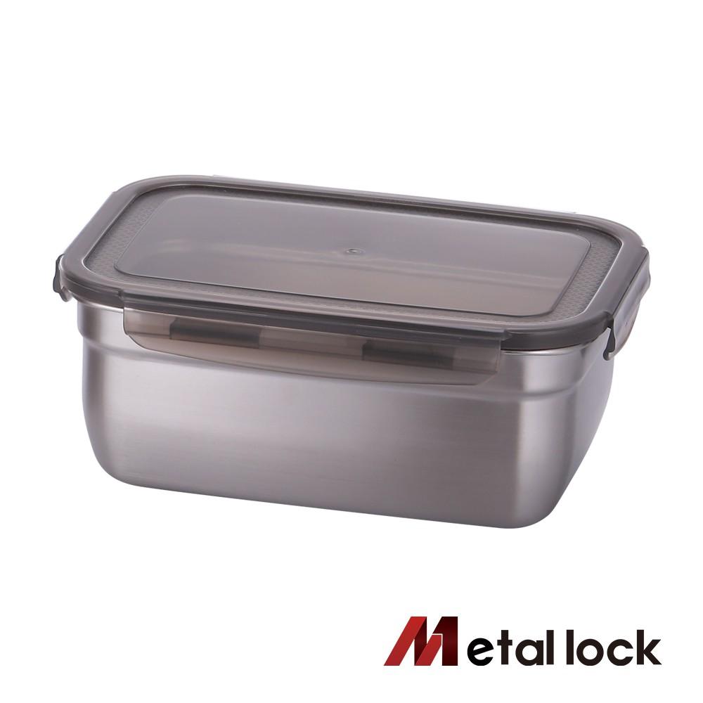 韓國Metal lock 方形不鏽鋼保鮮盒2000ml 深型 露營野餐不銹鋼環保收納大容量食物醃漬密封罐樂扣蓋便當飯盒