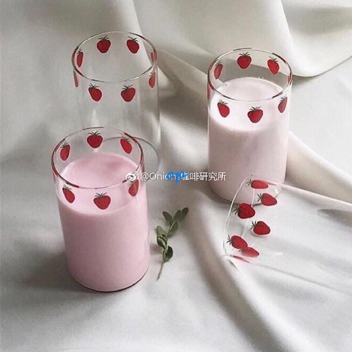 🐘艾樂芬🐘漫畫版NANA草莓玻璃杯 高硼硅耐熱玻璃 可愛草莓牛奶杯 漫畫周邊