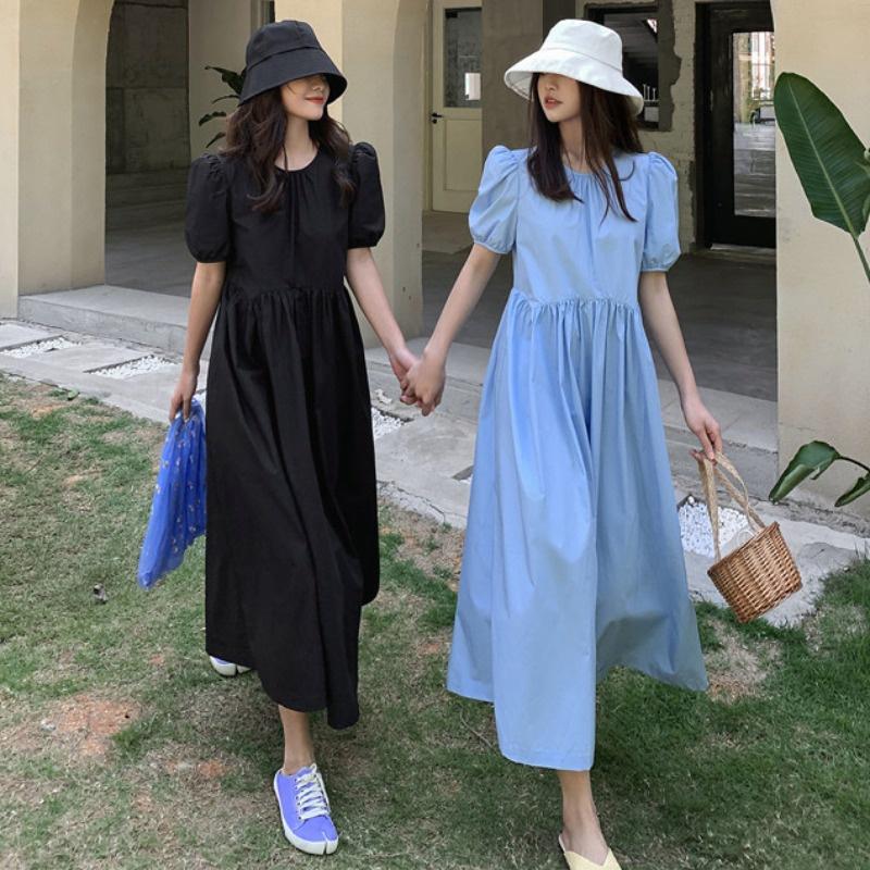 IELGY 藍色泡泡袖洋裝女2021年春季新款法式收腰顯瘦中長款溫柔風裙