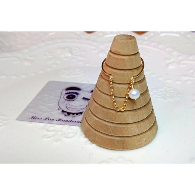美國14KGF材料 天然珍珠戒指 單線製作極細 手工訂製輕珠寶  Agete風`