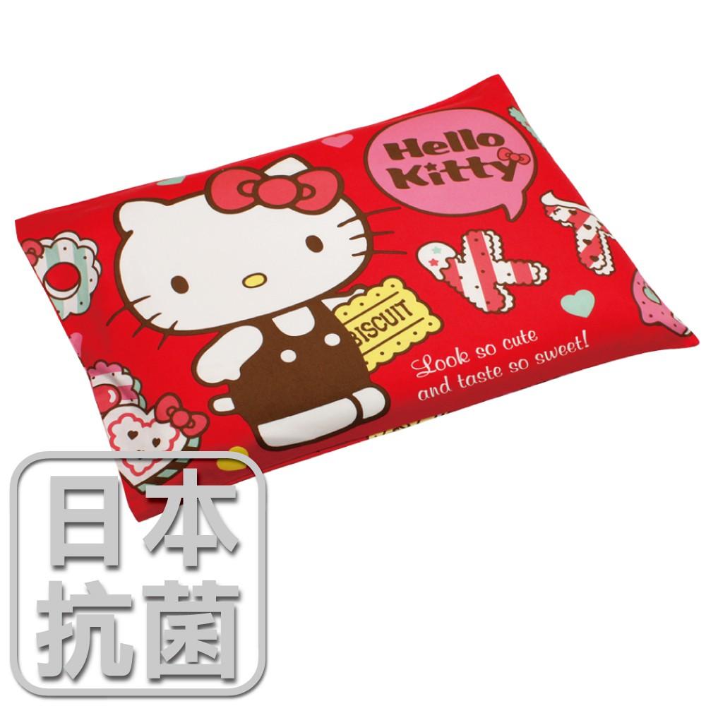 鴻宇 兒童乳膠枕 日本抗菌Hello Kitty繽紛甜心-站姿紅 美國棉授權品牌 台灣製