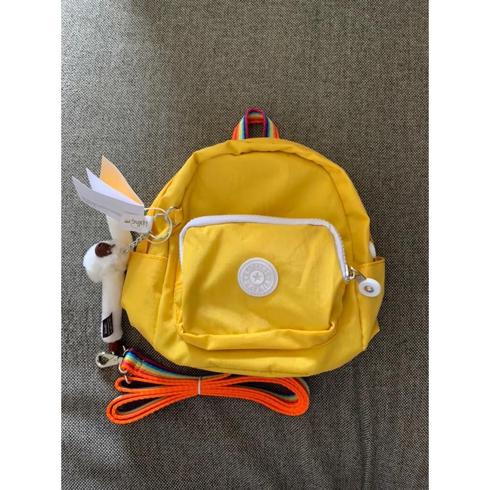 『G.F.灰色空間』Kipling 猴子包 K12673 黃色彩帶 迷你小斜背包後背包 休閒時尚雙肩背包 多功能單肩包